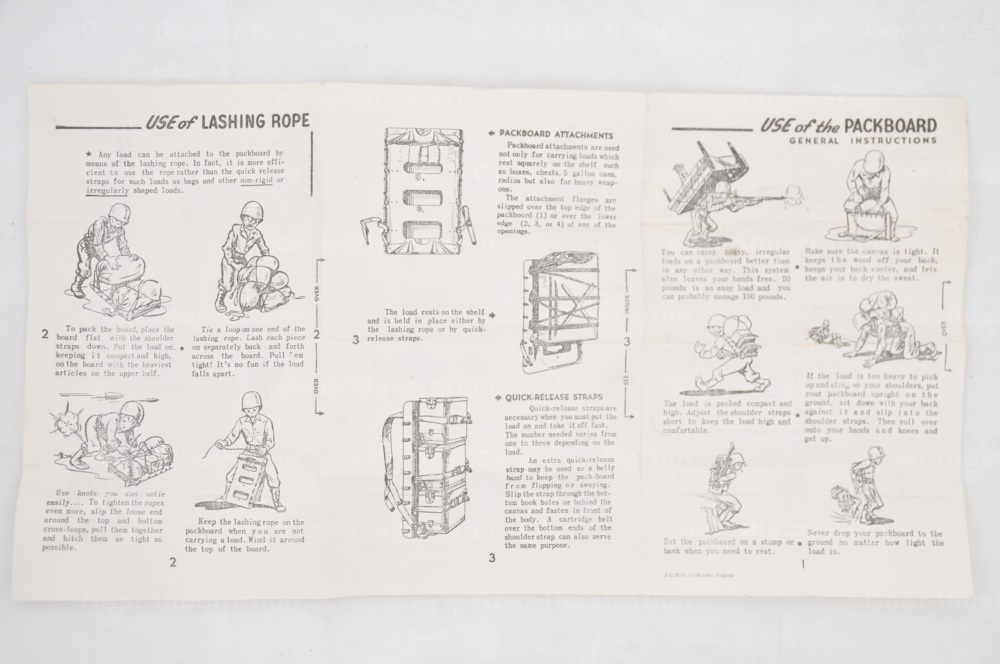plywood packboard and accessories  1944   1951  gear illustration molle ii manual army molle ii rucksack manual